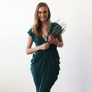 Size L Blushfashion silky emerald green maxi dress